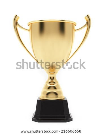 Champion Golden Trophy Isolated on White Background. - stock photo