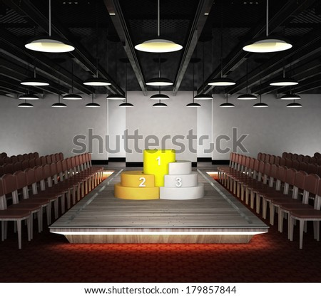 champion pedestal situated on fashion exhibition podium concept illustration - stock photo