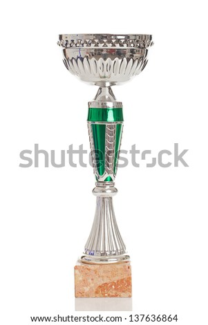 Champion trophy chalice on a white background