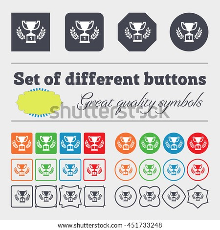 Champions cup, Trophy icon sign. Big set of colorful, diverse, high-quality buttons. illustration - stock photo