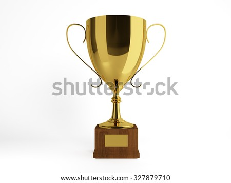 Champions golden cup for first place, isolated.Clipping path included - stock photo