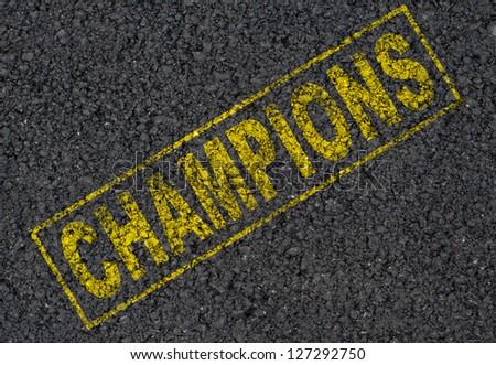 Champions stamp background - stock photo