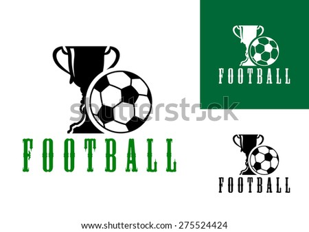 Championship football icon with a large trophy and pentagonal patterned football with the text - Football - below in three color variants - stock photo