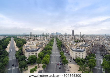 Champs Elysees to La Defense from the Arc de Triomphe in Paris, France - stock photo