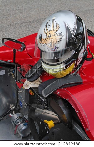 CHAMROUSSE, FRANCE, AUGUST 23, 2014 : Equipment for a driver during training for the annual uphill race. Hillclimbing is a branch of motorsport in which drivers compete against the clock.