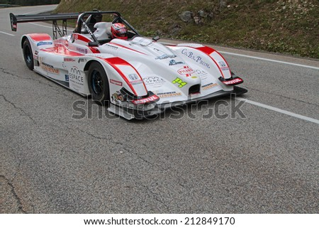 CHAMROUSSE, FRANCE, AUGUST 23, 2014 : Training for the annual uphill race of Chamrousse. Hillclimbing is a branch of motorsport in which drivers compete against the clock to complete an uphill course.