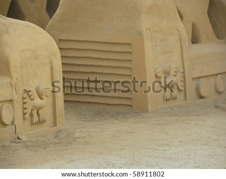 Chan Chan, Peru, was the imperial capital of the Chimor . It is largest adobe city in the world. A few miles from the modern city of Trujillo, Peru, was added as a Unesco World Heritage Site in 1986. - stock photo