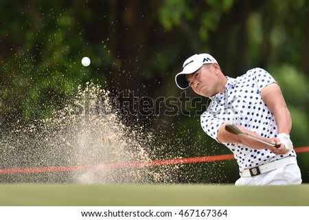 Chan Shih-chang of Chinese Taipei hits the ball in the bunker  during round four of the King's Cup at Phoenix Gold Golf and Country Club on July 31, 2016 in Pattaya, Thailand.