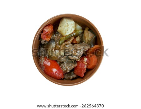 Chanakhi - traditional Georgian dish of lamb stew with tomatoes, aubergines, potatoes, greens and garlic.