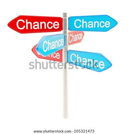 Chances are everywhere metaphor as roadsign sign post isolated on white