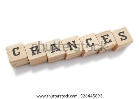 CHANCES word made with building blocks isolated on white