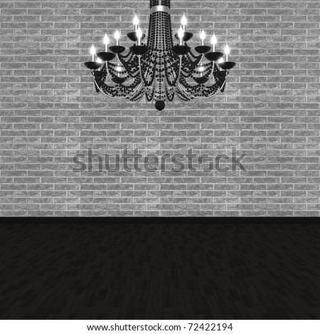 Chandelier against the background of a brick wall. (3D visualization). - stock photo