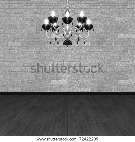 Chandelier against the background of a stone wall. (3D visualization). - stock photo