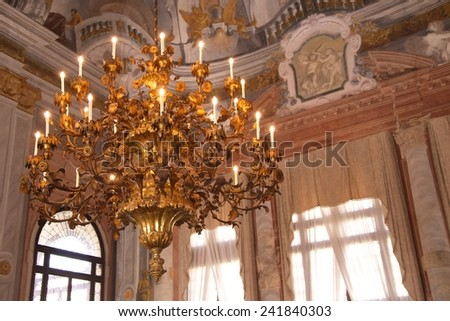 Chandelier in a palace, Venice, Italy