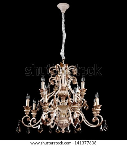 Chandelier on a black background - stock photo