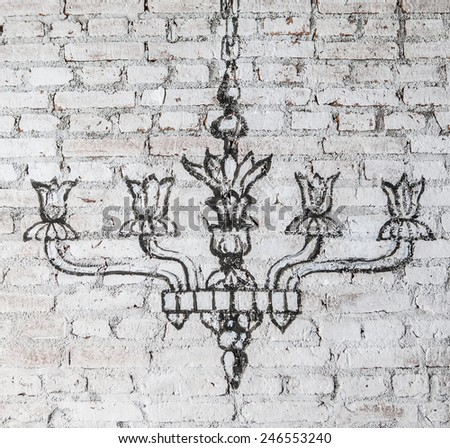 chandelier wall - stock photo