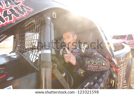 CHANDLER, AZ - OCT 26: Brian Deegan (38) on the grid in his Pro 2 Unlimited Lucas Oil Off Road Series racing for qualifying on October 26, 2012 at Firebird International Raceway in Chandler, AZ. - stock photo
