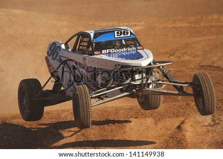 CHANDLER, AZ - OCT 26: Doug Fortin (96) at speed in Pro Buggy Lucas Oil Off Road Series racing during a qualifying session on October 26, 2012 at Firebird International Raceway in Chandler, AZ. - stock photo