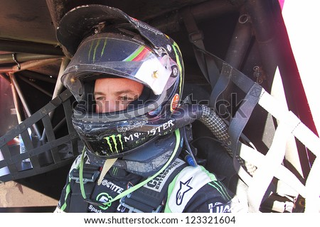 CHANDLER, AZ - OCT 26: Jeremy McGrath (2) on the grid in his Pro 2 Unlimited Lucas Oil Off Road Series racing for qualifying on October 26, 2012 at Firebird International Raceway in Chandler, AZ. - stock photo