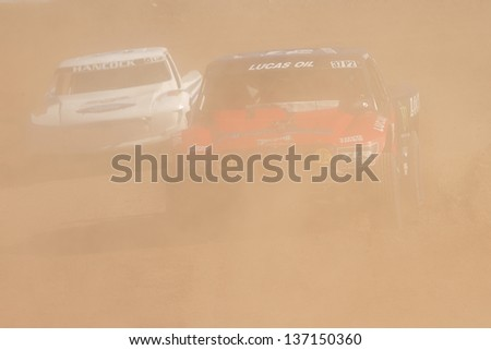 CHANDLER, AZ - OCT 26: RJ Anderson (37) at speed in Pro 2 Unlimited Lucas Oil Off Road Series racing qualifying on October 26, 2012 at Firebird International Raceway in Chandler, AZ. - stock photo