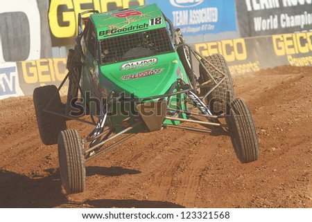 CHANDLER, AZ - OCT 26: Robb Harvey (18) at speed in Pro Buggy Lucas Oil Off Road Series racing during a qualifying session on October 26, 2012 at Firebird International Raceway in Chandler, AZ. - stock photo