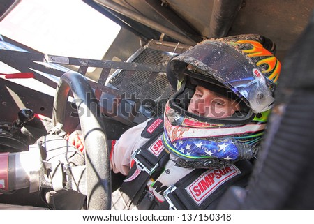 CHANDLER, AZ - OCT 26: Ryan Beat (46) on the grid in his Pro 4 Lucas Oil Off Road Series racing for a qualifying session on October 26, 2012 at Firebird International Raceway in Chandler, AZ. - stock photo