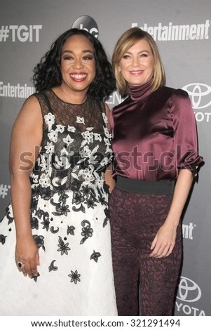 Chandra WilsonLOS ANGELES - SEP 26:  Shonda Rhimes, Ellen Pompeo at the TGIT 2015 Premiere Event Red Carpet at the Gracias Madre on September 26, 2015 in Los Angeles, CA - stock photo