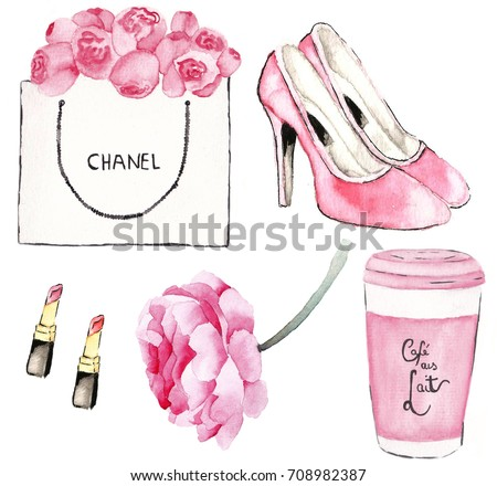 Chanel perfume, Paris and roses watercolor