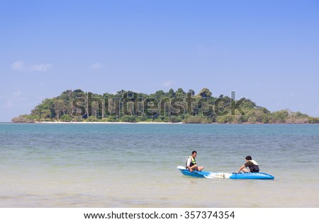 Chang island, Thailand - APRIL 27, 2014:Tourists Kayaking are funny.