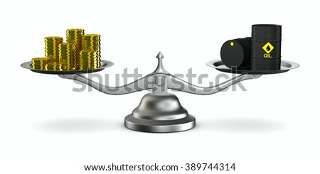 Change cost of oil in market. Isolated 3D image - stock photo
