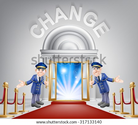 Change door concept of a doormen holding open a door at a red carpet entrance with velvet ropes. Light streaming through it, could be the door to the new future. - stock photo