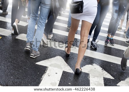 Change Fashion. Trends.The skirt or jeans.Road junction. Street.