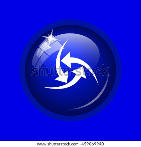 Change icon. Internet button on blue background. 