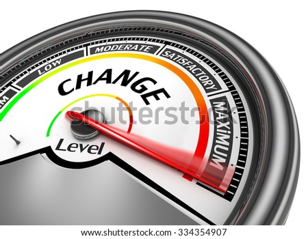 Change level to maximum modern conceptual meter, isolated on white background