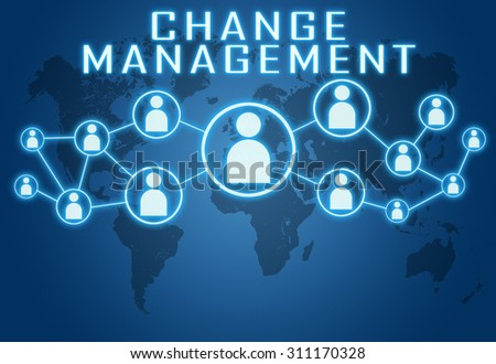 Change Management concept on blue background with world map and social icons. - stock photo
