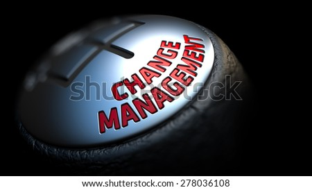 Change Management. Control Concept. Gear Lever on Black Background. Close Up View. Selective Focus. 3D Render. - stock photo