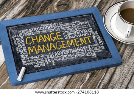 change management with related word cloud handwritten on blackboard - stock photo