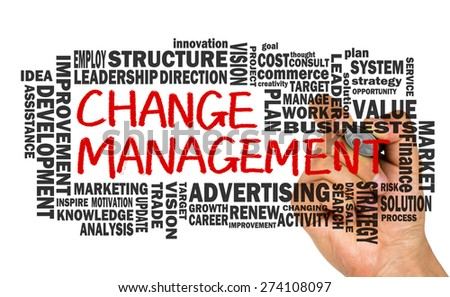 change management with related word cloud handwritten on whiteboard