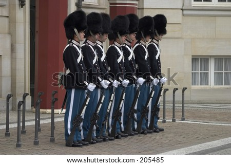 Change of guard, Amalieborg, Copenhagen - stock photo