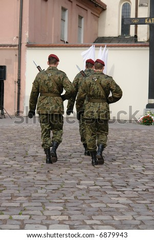 Change of honor guard by Katyn memorial in the Independence Day of Poland - Krakow