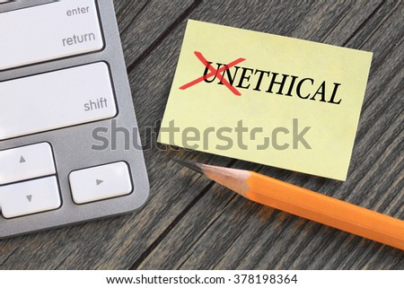 change of unethical to ethical concept - stock photo