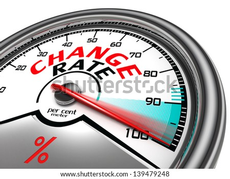change rate conceptual meter indicate hundred per cent, isolated on white background - stock photo
