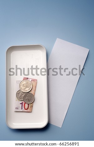 Change with receipt isolated on background. - stock photo