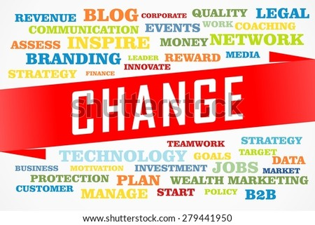 change word collage concept on red line