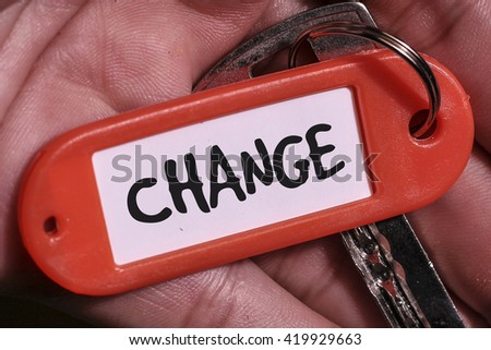 CHANGE word written on key chain