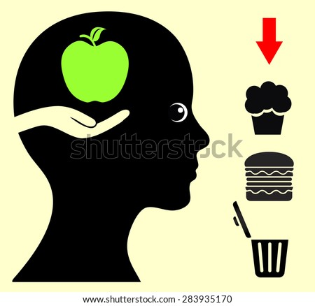 Change your Food Habits. Breaking bad eating habits with health food like fruits  - stock photo
