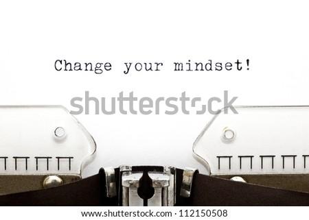 Change Your Mindset printed on an old typewriter - stock photo