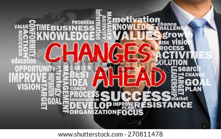 changes ahead concept with related word cloud hand drawing by businessman