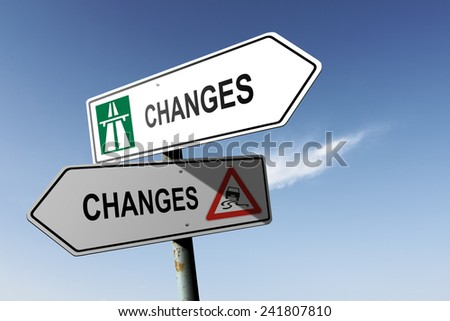 Changes directions. Choice for easy way or hard way. - stock photo
