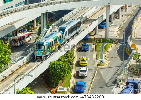 CHANGI, SINGAPORE - AUGUST 25, 2016 : The Changi Airport Skytrain at Singapore Changi Airport, Singapore on August 25, 2016. Opened in 1990, it was the first auto-guided system in Asia